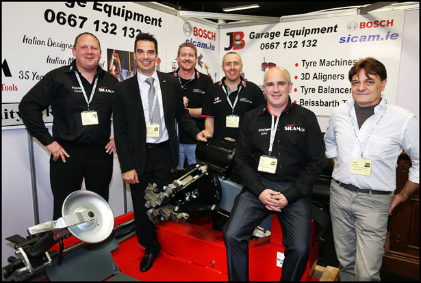 Gerard Flaherty, Alessanadro Chiari, Michael Sullivan, John Mahony, John Brophy and Marco Moruzzi  all from JB Garage Equipment at the Auto Trade Expo at CityWest.