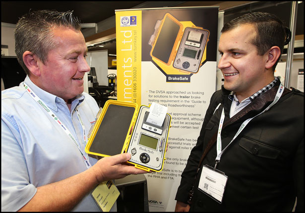 Hugh Brady from Techplus with Tadas Oberauskis pictured at the Auto Trade Expo at CityWest.