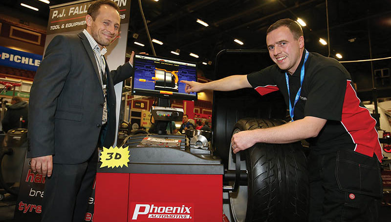 James Brennan, Phoenix Automotive, pictured with Darren Whittle from Karcher on the PJ Fallon Stand