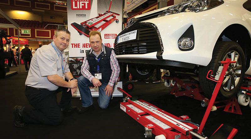 Hugh Brady from Techplus pictured with Henry Marcus from Marcus Motors in Cork, pictured in the Techplus stand