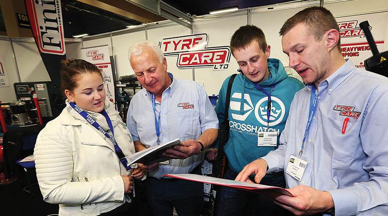 Dayna Morgan from Morgans Garage, Joe Carson from Tyrecare Ltd, Conor Doyle from Morgans Garage and Gary Sweetman from Tyrecare Ltd at the Tyrecare Ltd Stand